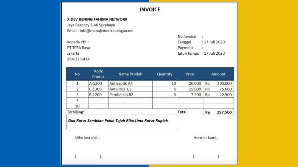 contoh invoice penagihan jasa